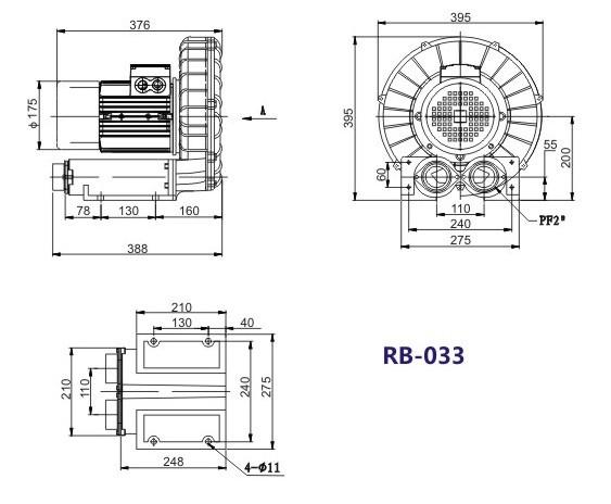 2.2kw环形高压风机|中国台湾RB-033环形风机生产厂家|RB-033漩涡风机 环形鼓风机 环形高压风机示例图6