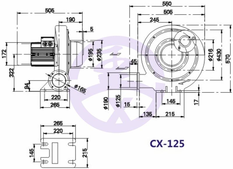 550w750W1.1kw1.5kw2.2kw铝壳中压风机生物质燃烧机炉灶鼓风机示例图10