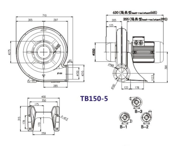 TB150-5风机,3.7KW透浦式鼓风机,4千瓦中压风机示例图1
