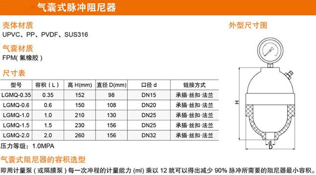 气囊式脉冲阻尼器图
