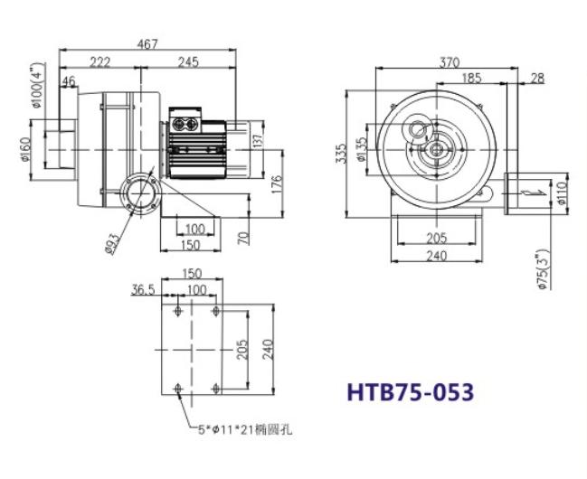 HTB75-503风机,0.4KW透浦多段式风机,750瓦透浦式风机示例图1