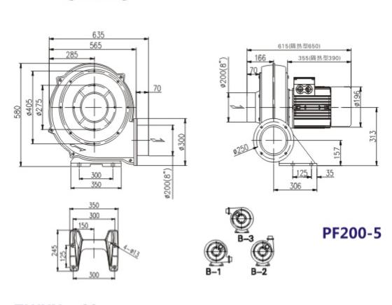 PF200-5风机,PF200-5-3.7KW直叶式风机,3.7千瓦中压鼓风机示例图1