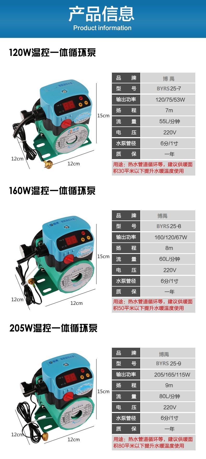地暖循环泵型号参数