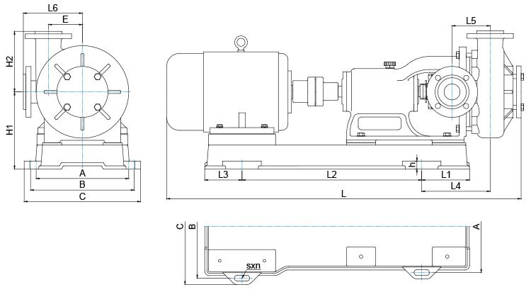 HFM-I型單級泵的外形圖